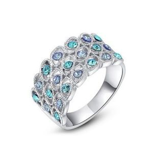 Silver Platinum plated ring with blue stones